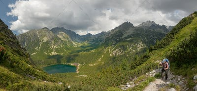 Panorama of Popradske pleso lake valley in High Tatra Mountains, Slovakia, Europe