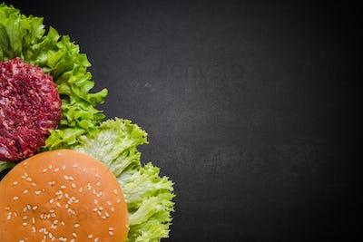 restaurant menu, burger ingredients and copy space