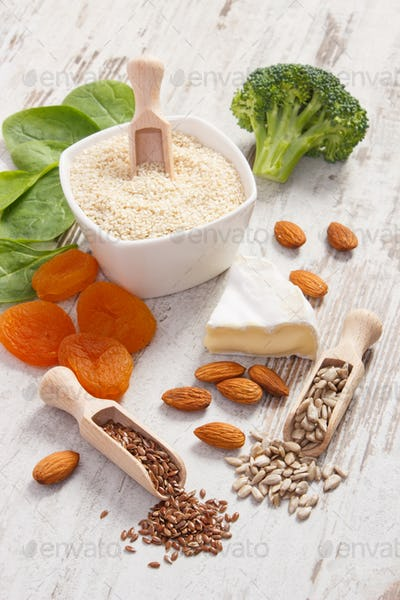 Products containing calcium and minerals with dietary fiber, healthy nutrition