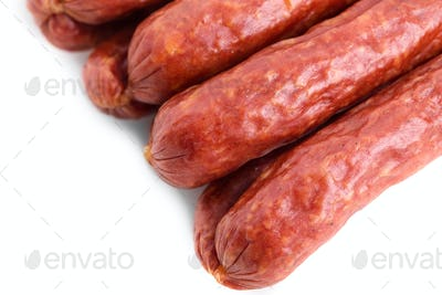 Tasty smoked beef sausages.