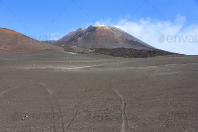 View of the Mount Etna main craters
