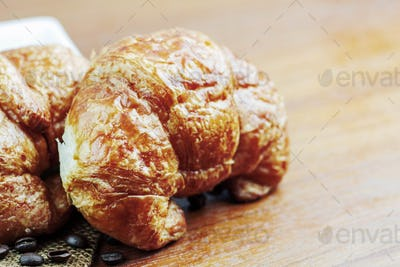 Croissants on a wooden