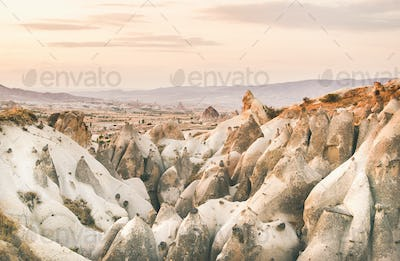 Valley with volcanic tuff stone rocks in Cappadocia