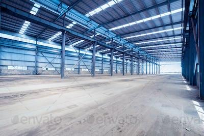 interior of steel structure workshop