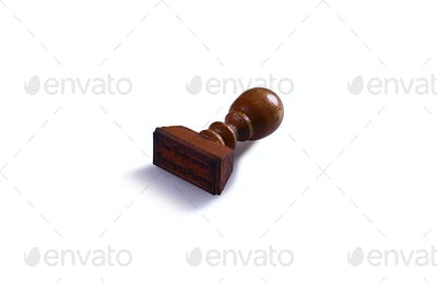 Wooden manual stamp isolated