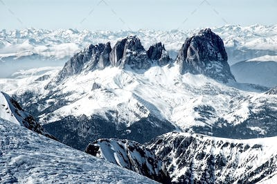 Ski resort in the Italian Dolomites. View from Marmolada glacier