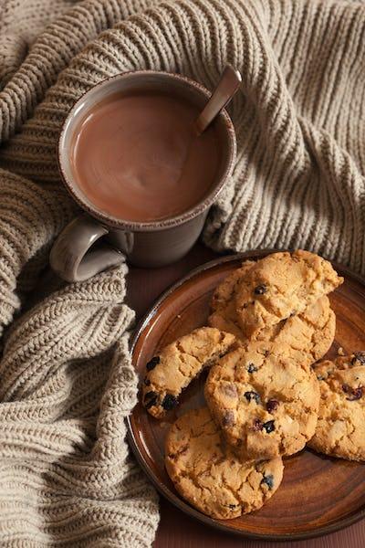 hot chocolate warming drink wool throw cozy autumn cookies