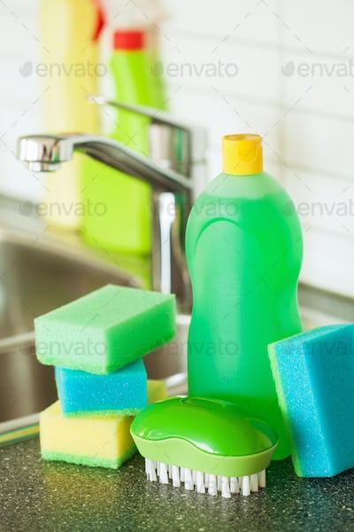 cleaning items household kitchen brush sponge glove
