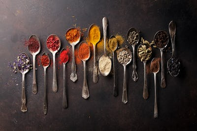 Various spices spoons