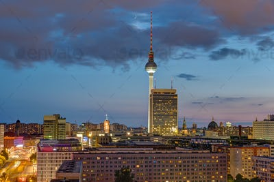 The Television tower and downtown Berlin at dusk