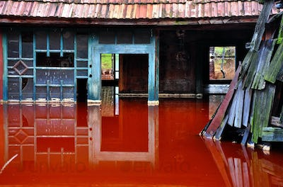 Ecological disaster. House flooded by contaminated water from a copper mine. Rosia Montana, Romania