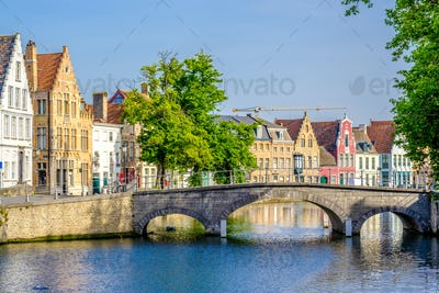 Bruges (Brugge) cityscape with water canal and bridge