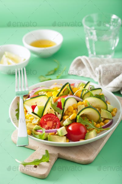spiralized courgette salad with sweetcorn tomato avocado, health