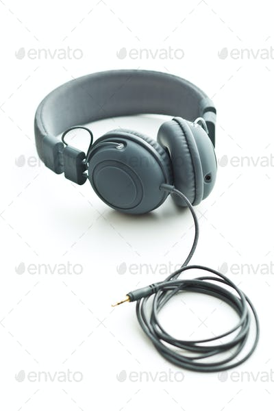 Gray vintage headphones.