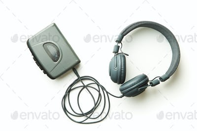 Vintage walkman and headphones.