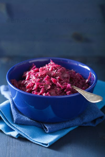 pickled red cabbage in blue bowl