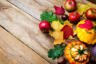 Apples, decorative pumpkin and yellow gourd with fall leaves