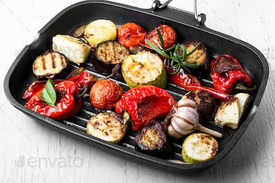 Grilled vegetables in a frying pan