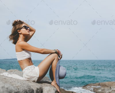 Girl on background of sea