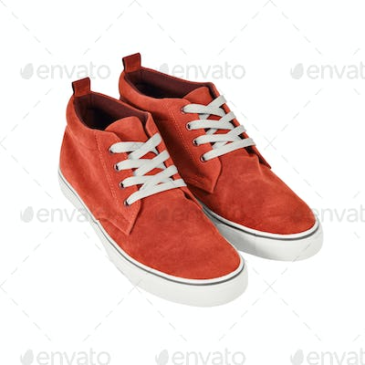 Red vans shoes isolated on white with path