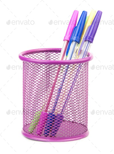 pens in metal pot