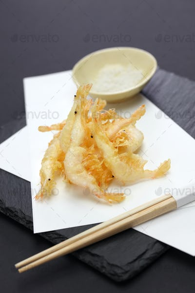 Japanese shrimp tempura, shiroebi