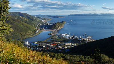 Top Panorama view of Petropavlovsk-Kamchatsky City, Avacha Bay and Pacific Ocean