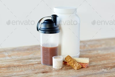 food and sports nutritional additives on table