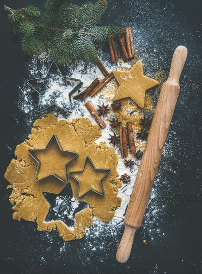 Baking ingredients for Christmas holiday traditional gingerbread cookies preparation