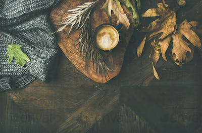 Flat-lay of Autumn or Fall motning coffee with copy space