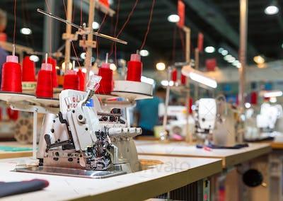 Overlock machine on sewing factory, nobody