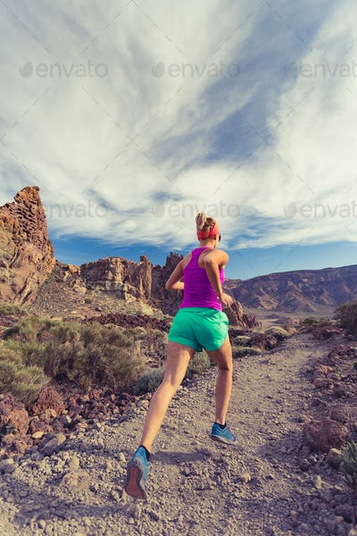 Trail running in mountains, fitness motivation and inspiration