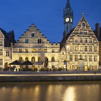 Old Houses In Ghent At Night, Belgium