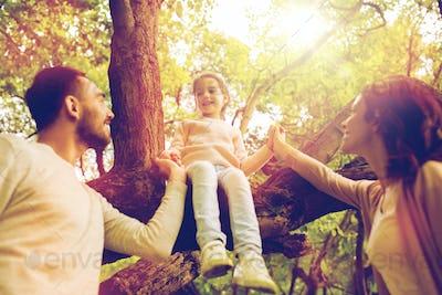 happy family in summer park having fun