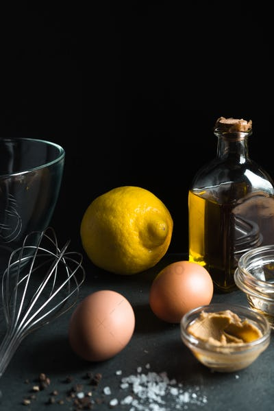 Ingredients for natural home mayonnaise side view