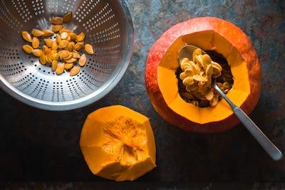 Seeds in a colander, pumpkin for making pumpkin soup