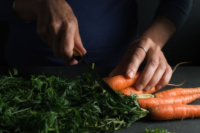 Plant, knife in hand, carrot side view