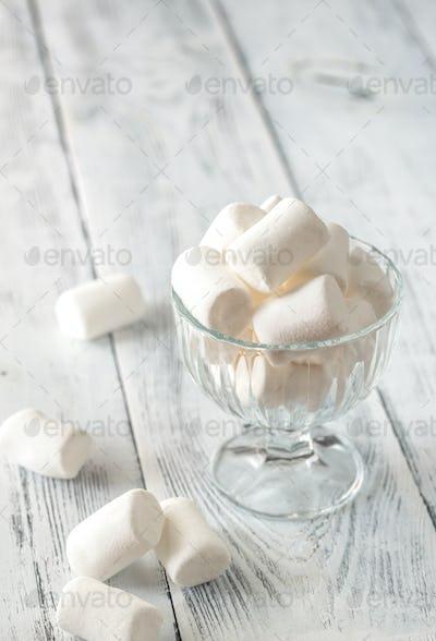 Glass bowl of marshmallows