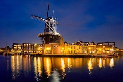 Harlem landmark windmill De Adriaan on Spaarne river. Harlem,