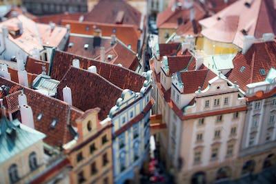 Prague view of the city from above. Tilt shift lens.