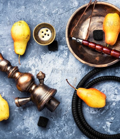 Arabic smoking hookah with pear