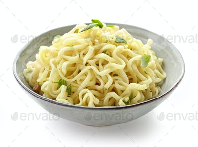 Bowl of boiled egg noodles