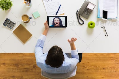 hands of businesswoman with tablet pc at office