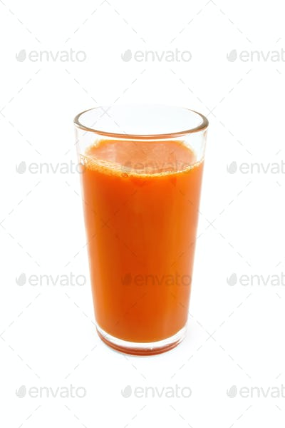 Juice carrot in tall glass