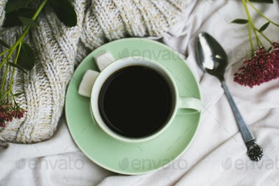 Coffee cup, glasses on white background