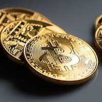 Bitcoins on grey background