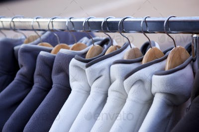 Fleece jacketson hangers