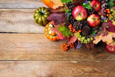 Thanksgiving greeting with ripe apples, blue flowers, copy space