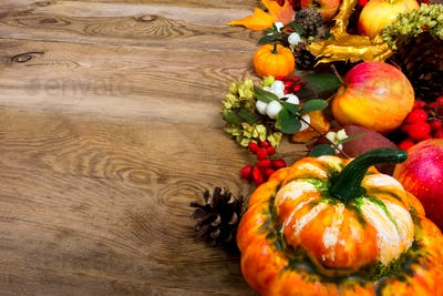Thanksgiving background with decorative pumpkin, apples, barberr