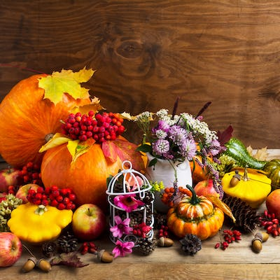 Fall arrangement with pumpkins and decorated birdcage, copy spac